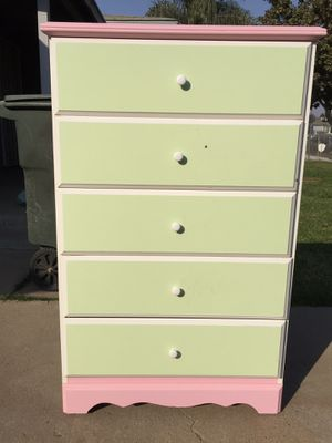 Tall dresser with five drawers all drawers open fine. for Sale in Fresno, CA