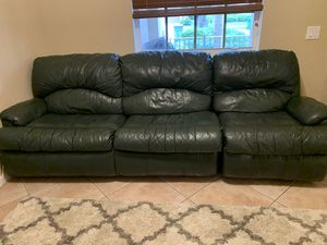 Leather Sofa Bed with Recliner for Sale in Weston, FL