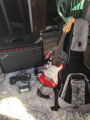 Fender Princeton Stereo Chorus 2-Channel + Squier mini Bullet Telecaster Electric Guitar Red and guitar case for Sale in Montebello, CA