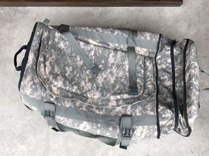 ACU Duffle Bag with Wheels and Backpack Carrying Straps for Sale in Tacoma, WA