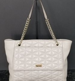 Kate Spade Large Pale Pink Taupe Triangle Quilted Leather Shoulder Bag Tote Purse for Sale in Chula Vista,  CA