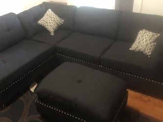 """Only $50 Down ! New Reversible Nailhead Sectional 104"""" X 75"""" Black Free Delivery ! for Sale in Ontario,  CA"""