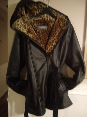 Wilson leather coat xl with plush animal print inside for Sale in Nashville, TN