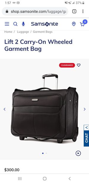 Samsonite garment bag 2 wheel carry on for Sale in Walkersville, MD