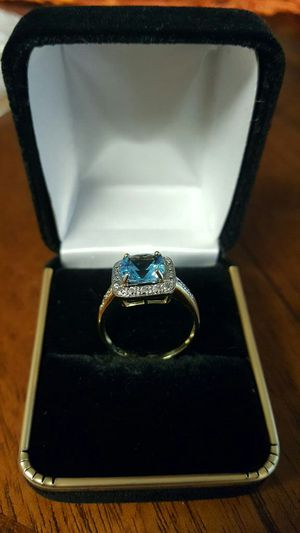 $1300 1.50ct Natural blue topaz with natural Diamond wedding ring size 8 for Sale in Odenton, MD