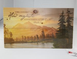 P. Graham Dunn Lord, How Majestic is Your Name Mountain Lake Scene 14 x 24 Wood Pallet Wall Art Sign Plaque for Sale for sale  Ontario, CA