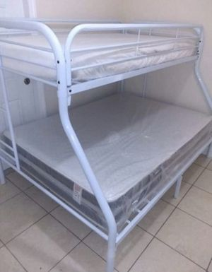 Twin over full bunk bed frame new in the box with the mattresses and free shipping for Sale in Hialeah, FL