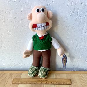 Vintage 1989 Wallace & Gromit, Wallace Stand-able Plush Stuffed Toy With Hang Tag