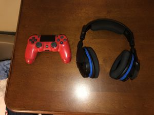 Turtle Beach Stealth 600 Wireless Gaming Headset for PS4 with a Custom Red PS4 Controller for Sale in Dublin, GA