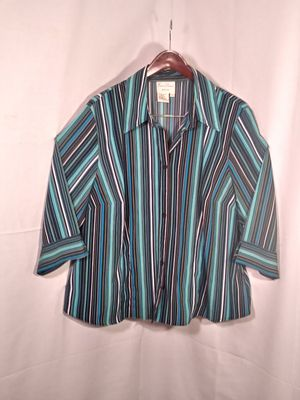 Fred David, turquoise and black striped polyester, button-down, long sleeve shirt, Size 2X for Sale in Grand Junction, CO