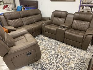 Beautiful recliners, includes sofa, love seat and glider recliner chair for Sale in Banning, CA