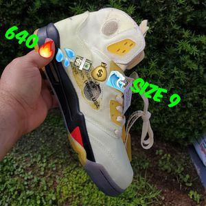 Jordans retro 5 off-white sail Fire Red 1 2 3 4 5 6 7 8 9 10 11 12 13 for Sale in Hialeah, FL