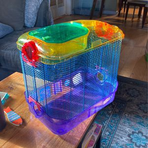 Hamster Cage And Box Full Of Accessories for Sale in San Jose, CA