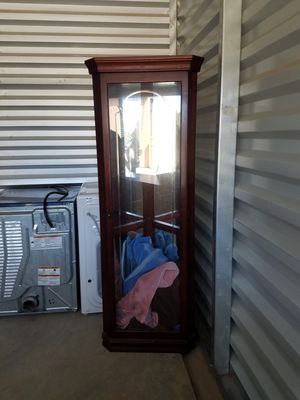 Cherry wood corner hutch with glass shelves for Sale in Wellington, CO