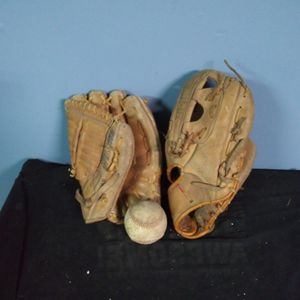 2 Vintage Rawlings Baseball Gloves And 1 Baseball for Sale in Indianapolis, IN