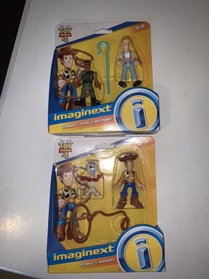 Imaginext Disney Pixar Toy Story 4 WOODY & FORKY COMBAT CARL & BO PEEP Figures NEW for Sale in South Miami, FL