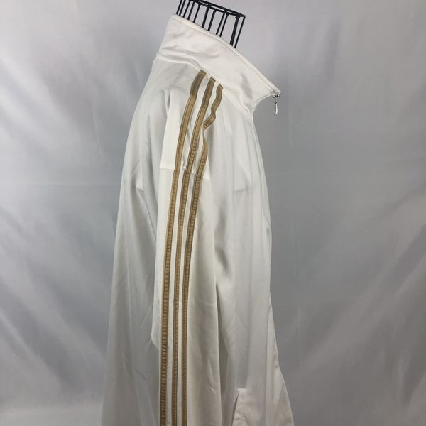 Adidas White Track Jacket Gold Stripes Full Zip Mens 2XL