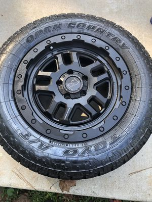 Set 4-black RHINO rims with Toyo open country GREAT CONDITION for Sale in Tucker, GA