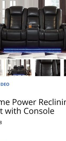 Black, Leather. Love Seat Recliner. Has Blue Led Light Strip On The Bottem for Sale in Bethalto,  IL