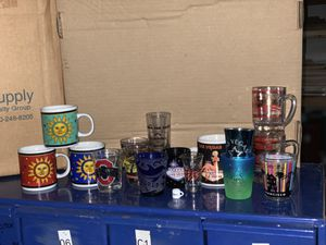 Shot glass collection with mini mugs. Las Vegas, San Francisco, Ohio state, sea world, etc for Sale in Romoland, CA