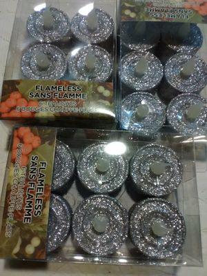 Ashland 18 Count Flameless Tea Light Candles Christmas Collection silver glitter for Sale in San Bernardino, CA