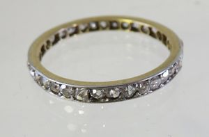 PLATINUM 18K MINE CUT DIAMOND ETERNITY BAND SZ 9 for Sale in Concord, MA