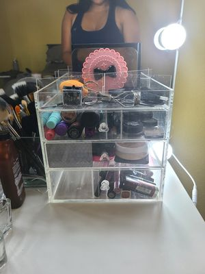3 Drawer Acrylic Makeup Organizer with Adjustable Dividers for Sale in San Diego, CA