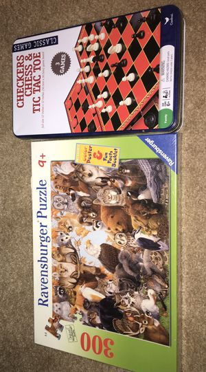 New in sealed box Ravensburger puzzle and Multi-game chess checkers & dominos for Sale in Kenosha, WI