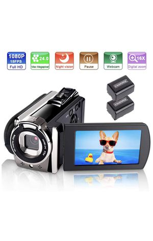 Video Camera Camcorder, Ifmeyasi Full HD 1080P 24MP YouTube Camera Recorder 16X Digital Zoom Camcorder with IR Night Vision Pause Function (2 Batteri for Sale in Los Angeles, CA