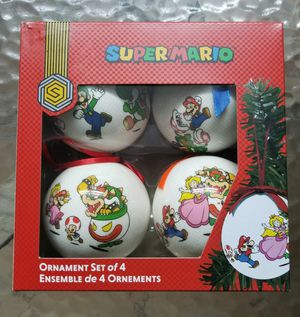 Official Nintendo Super Mario Christmas / Xmas Tree Ornaments Set Of 4 - New / Open Box for Sale in Hialeah, FL