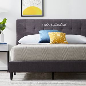 NEW, MID CENTURY DESIGN,LINEN LIKE FABRIC,TWIN SIZE BED FRAME. for Sale in Santa Ana, CA