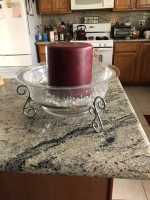 Party lite glass bowl with candle for Sale in Santa Clarita, CA