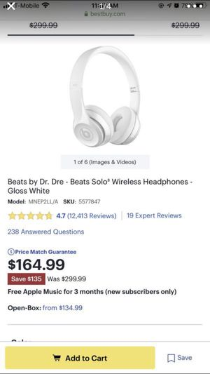 Brand new Beats by Dr. Dre - Beats Solo³ Wireless Headphones - Gloss White for Sale in Central Houghton, WA