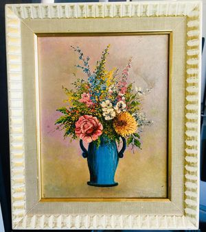 Flowers - Original signed oil painting by Arlene Francis; H13xW11 inch for Sale in Chandler, AZ