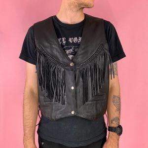 Unik Black Leather Fringe Moto Biker Vest Sz 1X Plus for Sale in Santa Ana, CA