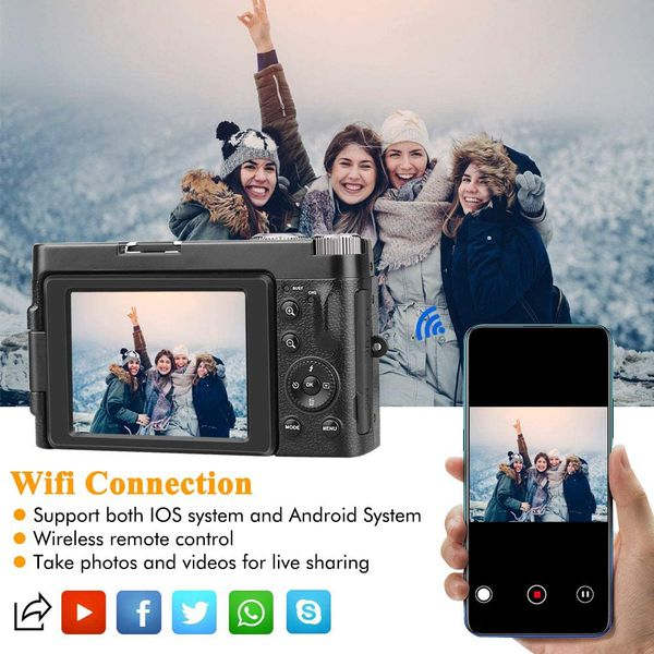 Digital Camera YouTube Vlogging Camera HD 1080P 24MP Video Camcorder 16X Digital