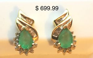 Natural Emerald Earrings with Gold & Diamond for Sale in Woodbridge, VA