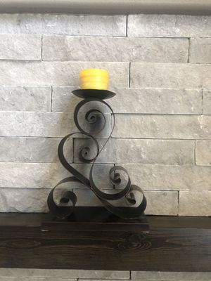 Two large metal candle holders with candles. for Sale in Arvada, CO