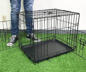 """$25 New In Box Double Door 24"""" Dog Crate Cage Folding Metal Kennel, Plastic Tray And Divider 24x17x19 Inches for Sale in Pico Rivera,  CA"""