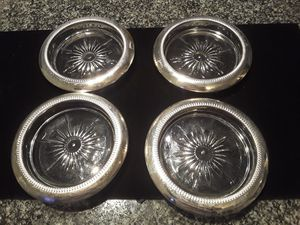 Vintage Crystal and Silver Coaster Set for Sale in Scottsdale, AZ
