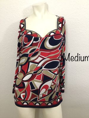 Women's medium red printed jersey knit Michael Kors blouse top for Sale in Las Vegas, NV