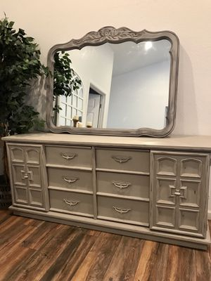 Real solid wood beautiful gray distressed long dresser and mirror for Sale in Peoria, AZ
