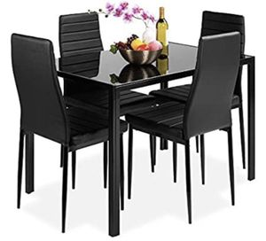 Best Choice Product - 5 piece Kitchen Dinning table set w/Glass table top , 4 faux leather chairs - Black for Sale in Doral, FL