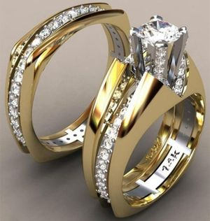 14k Solid Gold White Sapphire Wedding Engagement Ring Set NEW IN BOX for Sale in Manassas, VA