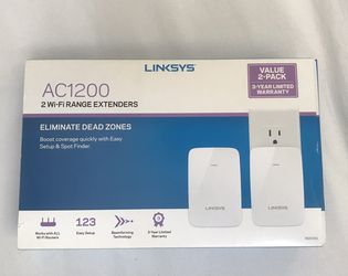 Linksys AC1200 Dual-Band Wi-Fi Range Extender/Wi-Fi Booster (RE6350), 2 Pack for Sale in Claremont,  CA