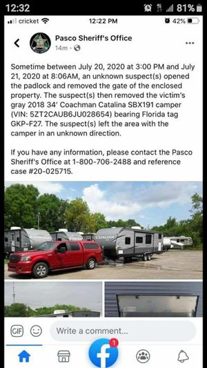 Stolen camper 2018 34ft for Sale in NEW PRT RCHY, FL