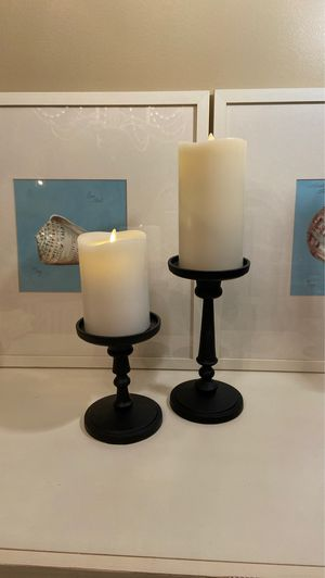 2 NEW POTTERY BARN BRONZE CANDLE HOLDERS for Sale in Thousand Oaks, CA