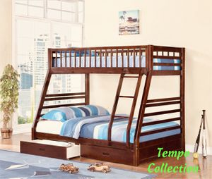 NEW, Twin over Full Bunk Bed Frame with 2 Drawers, Espresso, SKU# 7588-CH for Sale in Santa Ana, CA