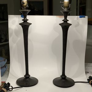 Pair of Heavy Metal Table Lamps for Sale in Los Angeles, CA