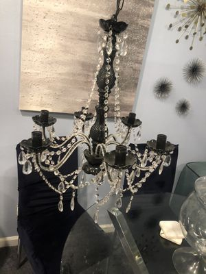 Crystal Black Chandelier - 6 Light for Sale in Los Angeles, CA